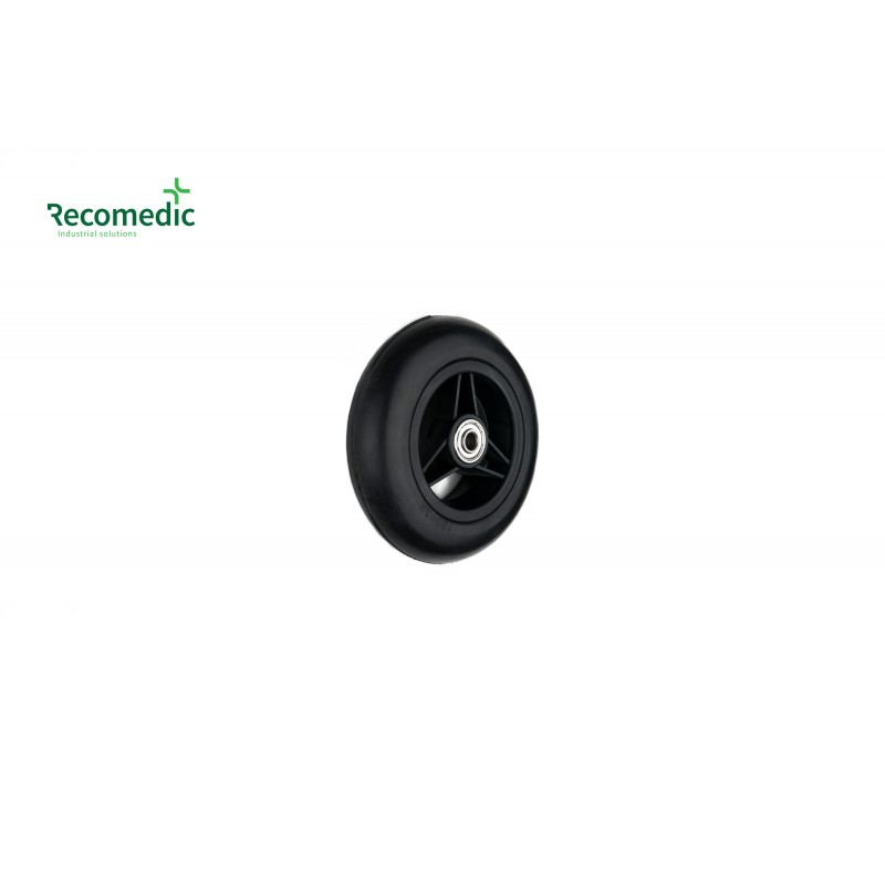 wheel 125/32 solid rubber black
