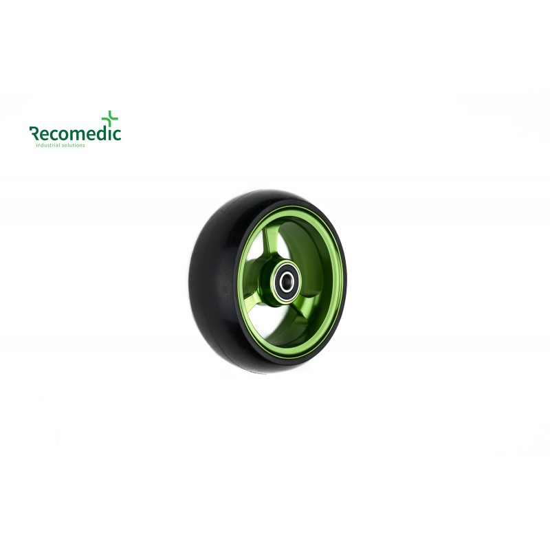 wheel 100/36 PU, rim aluminium green