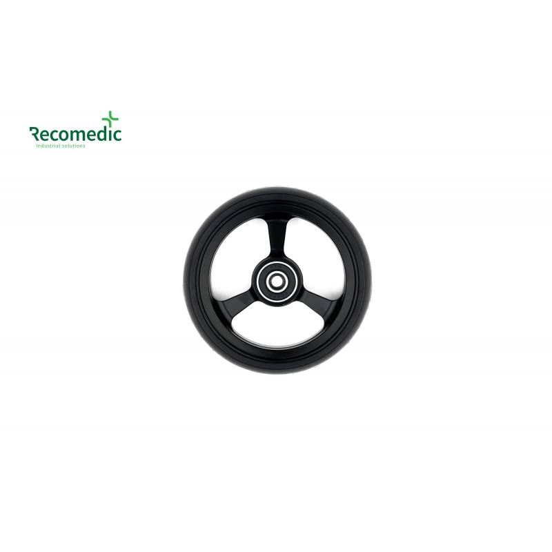 wheel 100/25 PU, rim aluminium black
