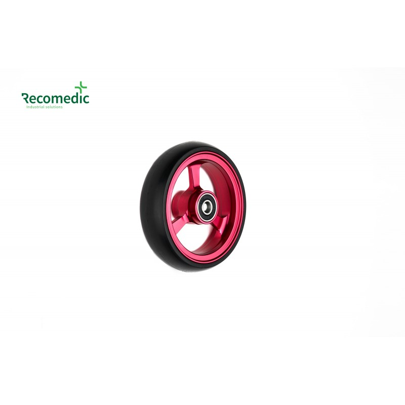 wheel 100/25 PU, rim aluminium red